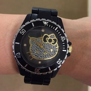 Other - Hello Kitty Pave Black Plastic Watch